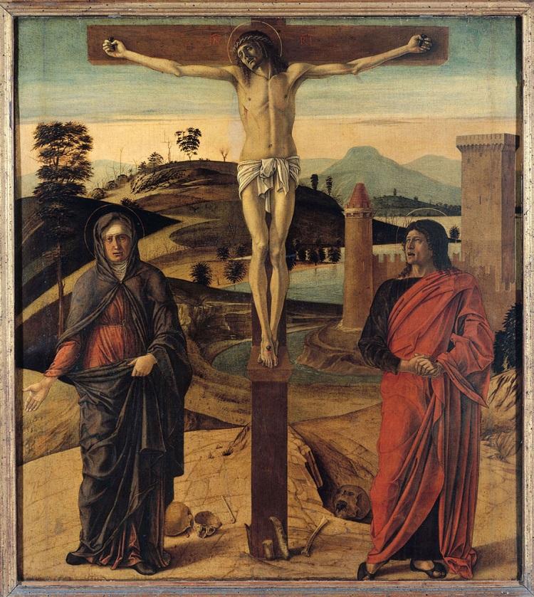 Giovanni Bellini. Cristo crocifisso tra la Vergine e san Giovanni Evangelista Parigi Louvre