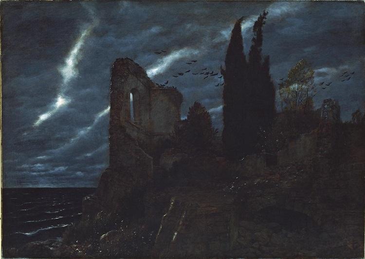 Arnold Böcklin: Ruine am Meer (Rovina sul mare), 1880. Olio su tela