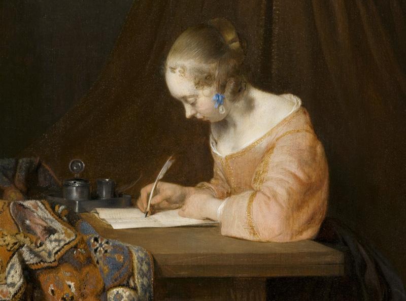 Gerard Ter Borch, Donna che scrive una lettera, 1655 circa(dettaglio)