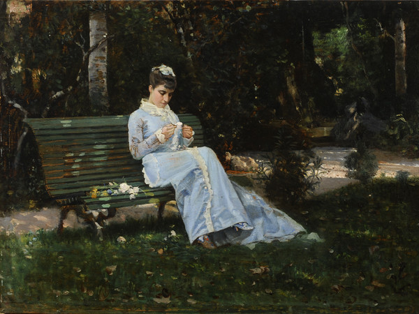 Cristiano Banti | Portrait of Alaide sitting in the garden