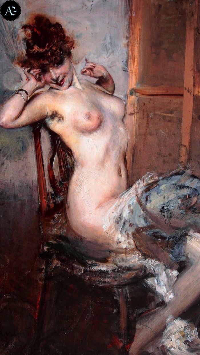 Giovanni Boldini | nude woman sitting