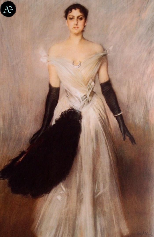 Giovanni Boldini | portrait of lady in white dress