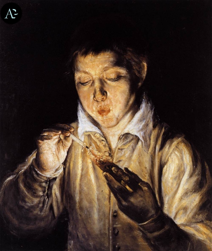 El Greco | A boy blowing on an ember to light a candle