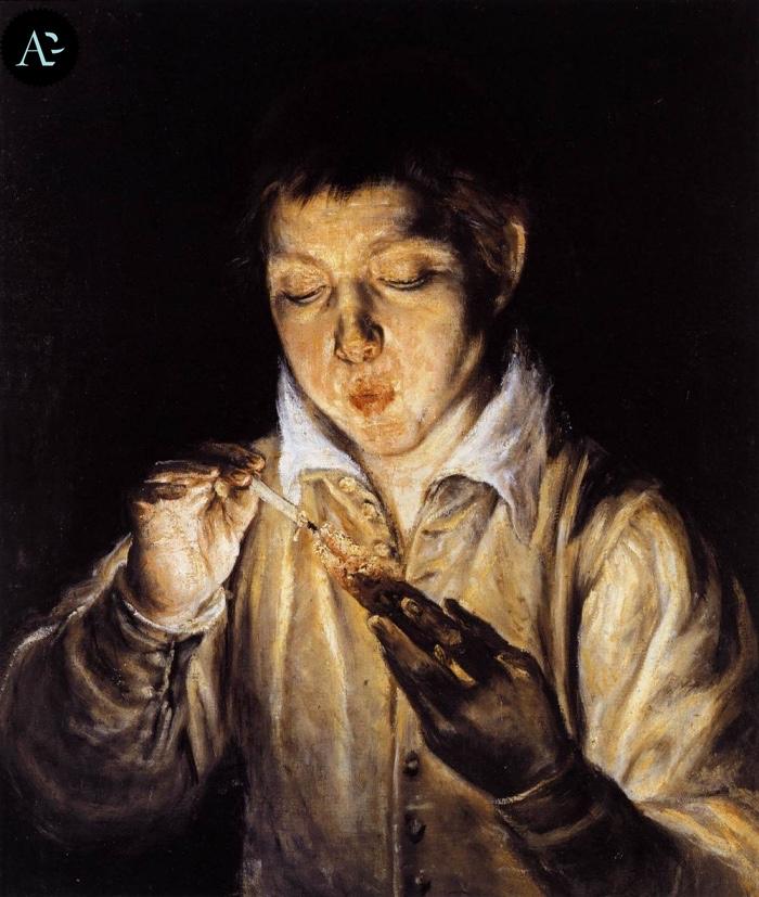 El Greco | Ragazzo che soffia sul tizzone ardente