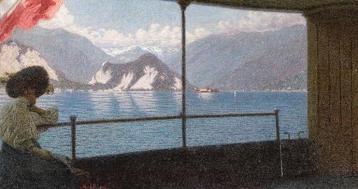 Battello sul Lago Maggiore | Angelo Morbelli