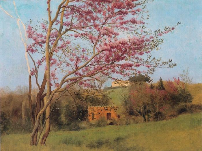 John William Godward | Landscape Blossoming Red Almond