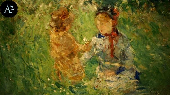 Berthe Morisot | donna e bambina su un prato