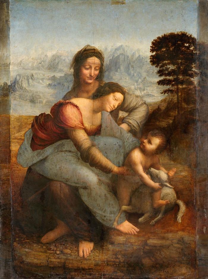 Sant'Anna, la Vergine e il Bambino con l'agnellino (1510-1513). Parigi, Museo del Louvre. Image source: it.wikipedia.org