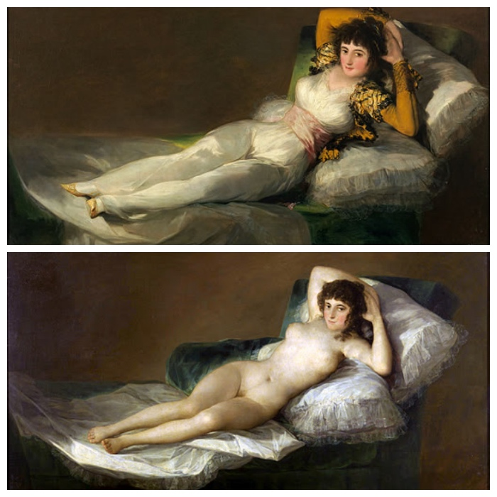 la Maja Vestida e la Maja Desnuda di Goya.