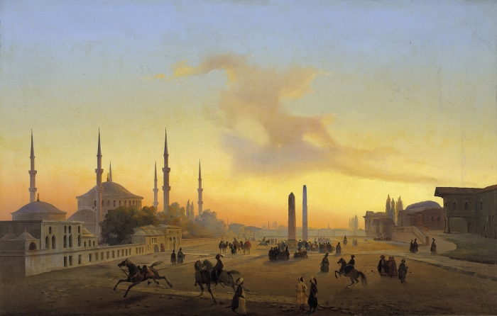Ippolito Caffi, Veduta della piazza dell'ippodromo di Costantinopoli