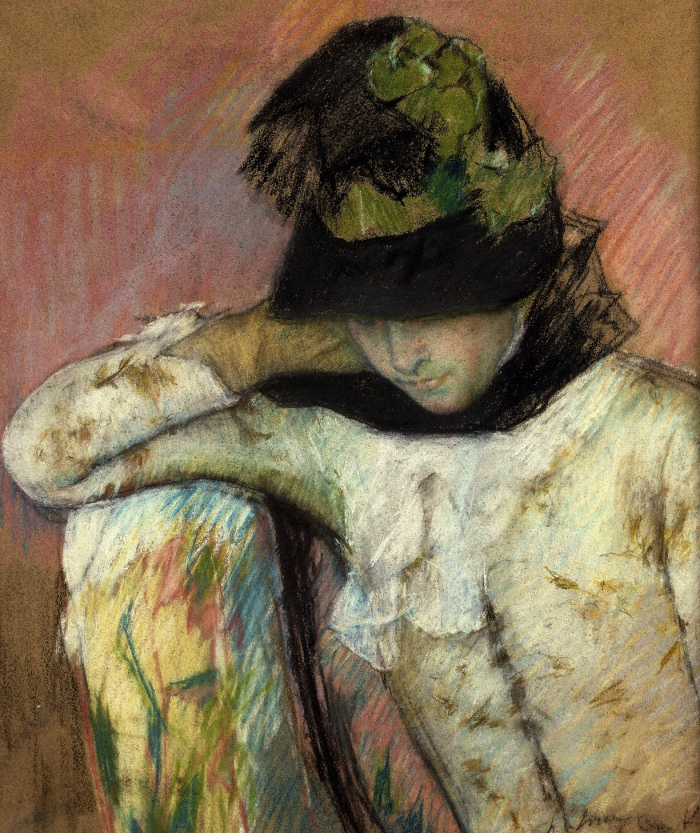 Mary Cassatt | Young Woman in a Black and Green Bonnet