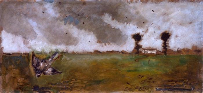 Filippo de Pisis | Paesaggio con passero e casolare