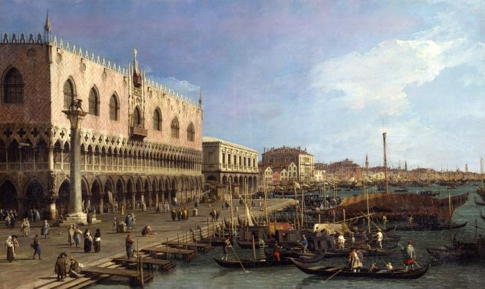Canaletto | Il molo verso est con la colonna di S. Marco