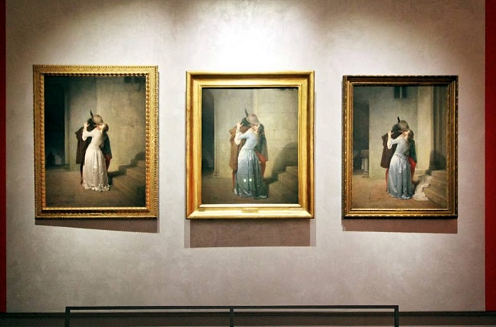 Kiss by Hayez| three versions