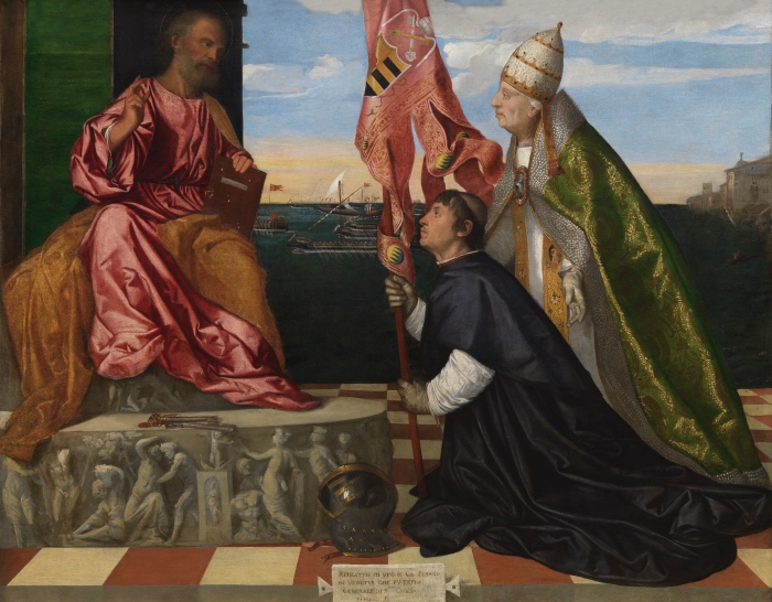 Titian | Jacopo Pesaro, Bishop of Paphos, being presented by Pope Alexander VI to Saint Peter