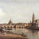 Bernardo Bellotto | Veduta di Dresda da sotto il Ponte di Augusto