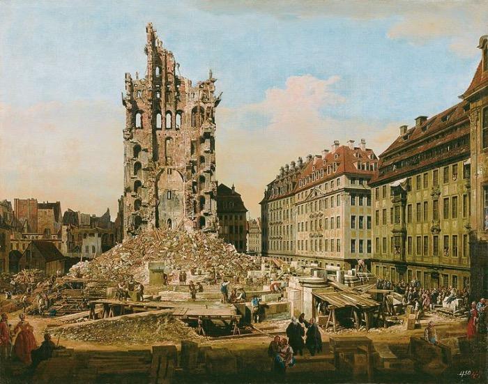 Bernardo Bellotto | Le rovine del vecchio Kreuzkirche