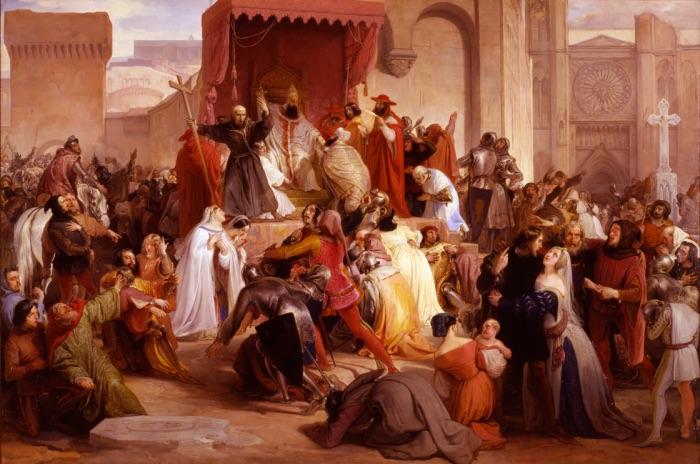 Francesco Hayez | Papa Urbano II sulla piazza di Clermont predica la prima crociata