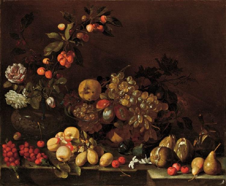 Luca Forte  (Napoli 1605 circa - 1660 circa) Natura morta di frutta e fiori  1640-1650 circa