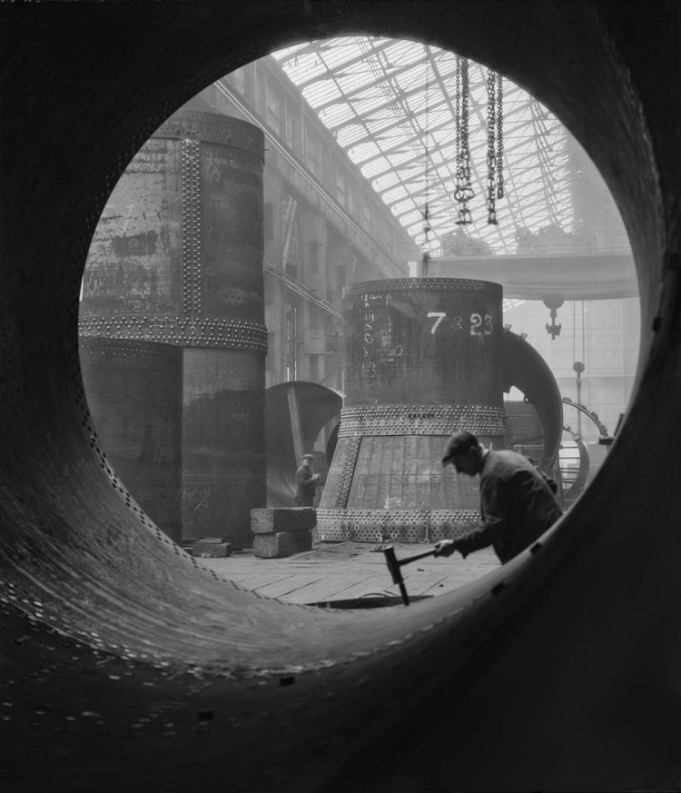 Rotary Kilns Under Construction in the Boiler Shop,  Vickers-Armstrongs Steel Foundry, Tyneside,1928, England  Modern Digital Print © E.O. Hoppé Estate Collection / Curatorial Assistance