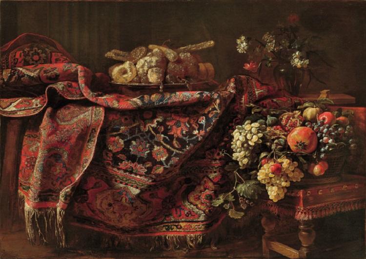 rancesco Noletti, detto il Maltese (già Francesco Fieravino, detto il Maltese)   (La Valletta? 1611 circa - Roma 1654)  Composizione con tappeto, canditi, cesto di frutta e vaso di fiori  1650 circa