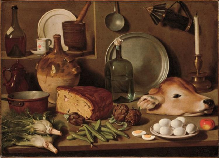 Carlo Magini  (Fano 1720-1806)  Natura morta con verdura, pane, testa di vitello e oggetti da cucina  1760-1800 circa