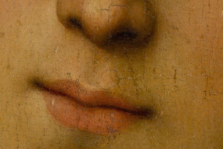 Particolare della bocca prima del restauro