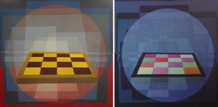 La scacchiera di Mario Agrifoglio Opera illuminata di luce solare a sinistra e di luce nera a destra