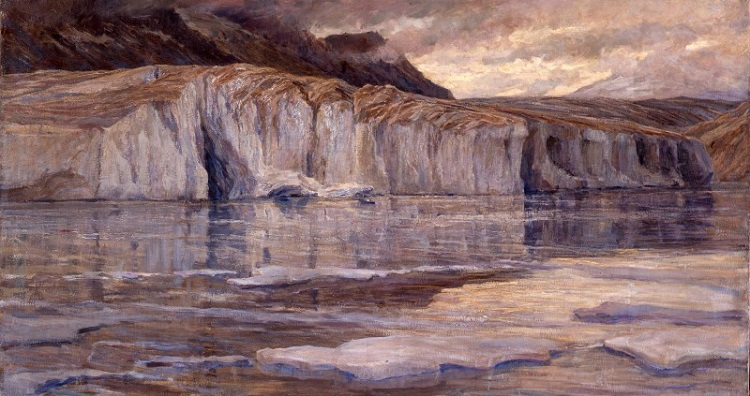 Carlo Cressini, Le gelide acque del lago Märjelen, 1908 ca., olio su tela. Verbania, Museo del Paesaggio