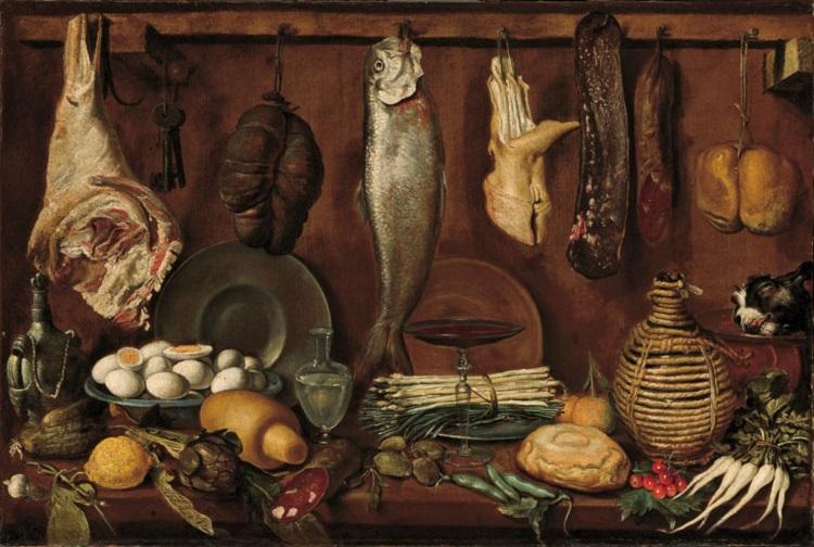 Jacopo Chimenti, detto l'Empoli  (Firenze 1551-1640)  Dispensa con pesce, carne, uova sode e fiasca di vino  1625 circa