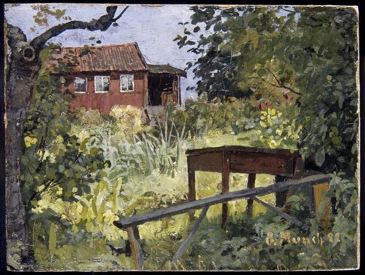 Edvard Munch Giardino con casa ossa, 1882 olio su cartone, cm 23,00 x 30,50 Collezione privata © The Munch Museum / The Munch-Ellingsen Group by SIAE 2013