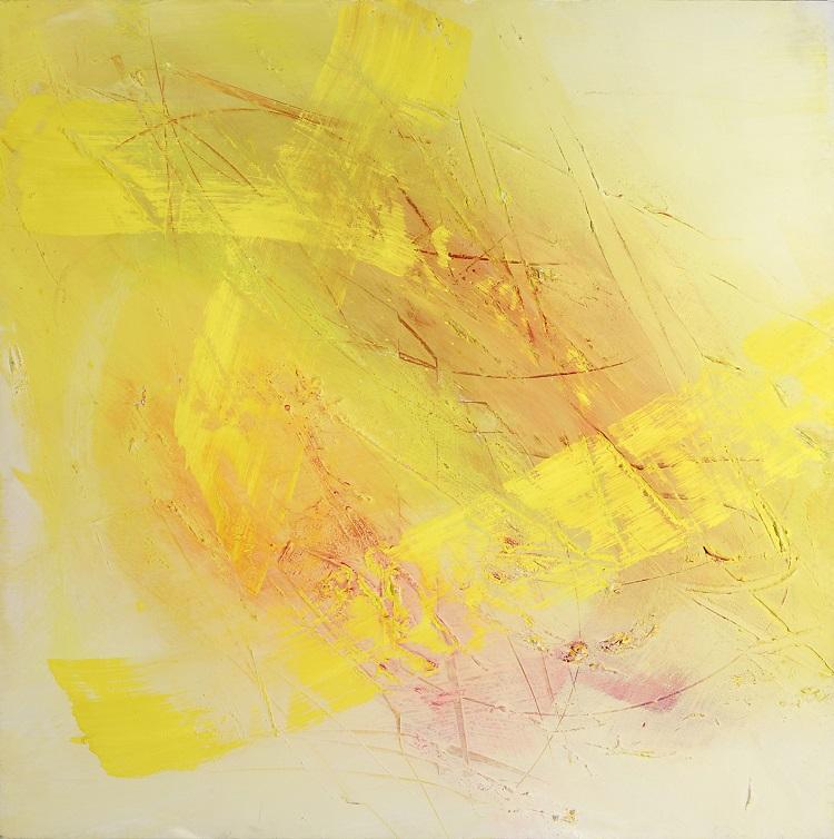 Alessandra Angelini, Yellow, 2004, tempera preparata dall'artista su tavola + interventi materici, cm 100x100 (2)