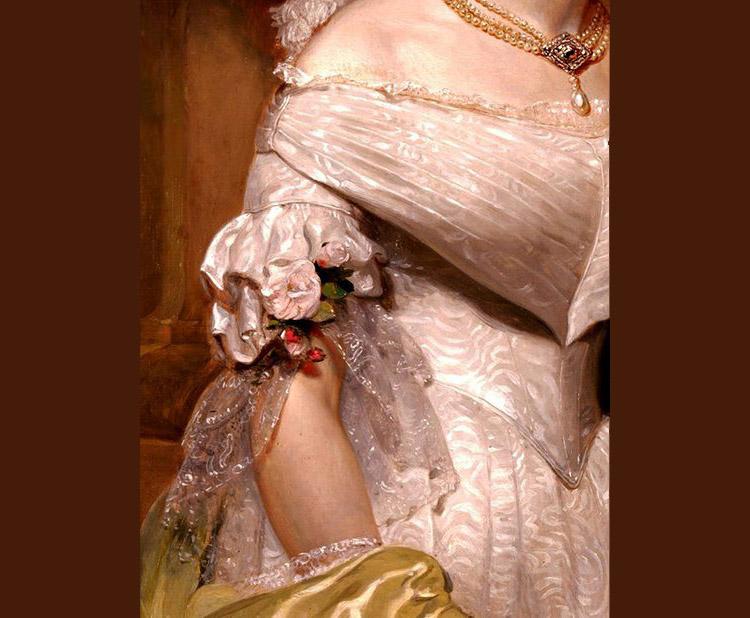 Angelica Singleton Van Buren, detail, by Henry Inman, 1842