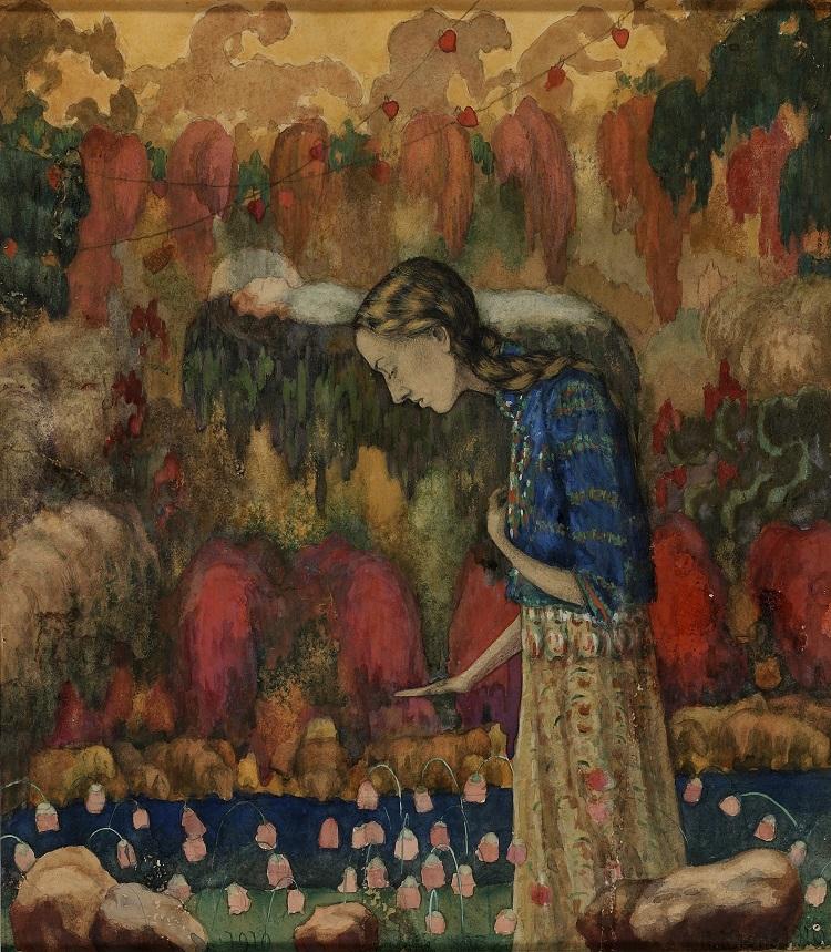 Ivan Kljun Ritratto della moglie dell'artista, 1910 Acquerello, carboncino e matita su carta, 34,2 x 29,1 cm Museo Statale d'Arte contemporanea di Salonicco – Collezione Costakis  ©State Museum of Contemporary Art – Costakis Collection, Thessaloniki