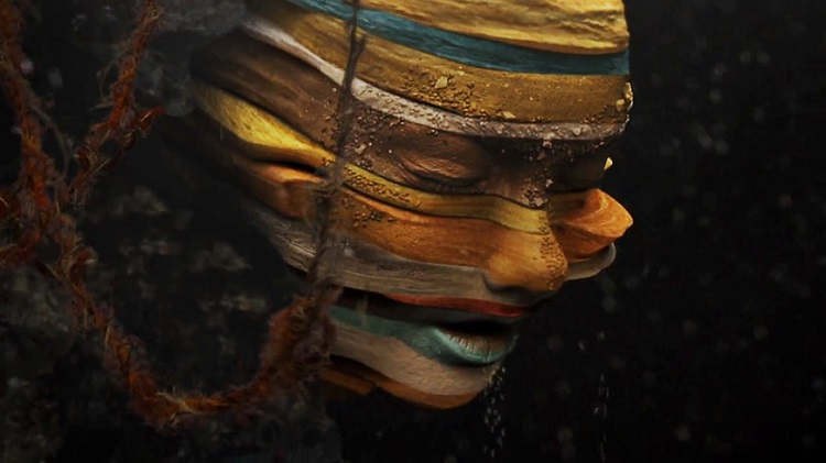 "Björk, ""Mutual Core"" fotogramma, 2012, diretto da Andrew Thomas Huang"