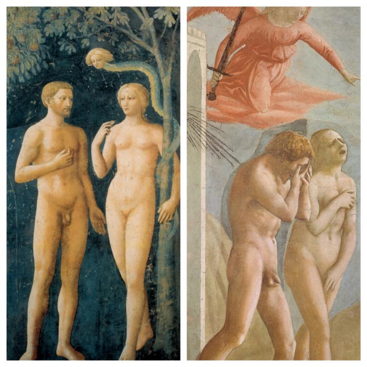 le opere di Masolino e Masaccio a confronto.