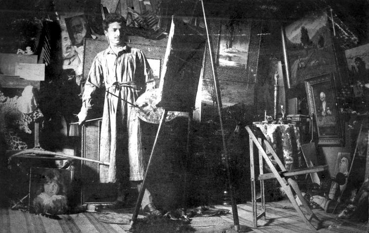 Felice Casorati nel suo studio di Padova.