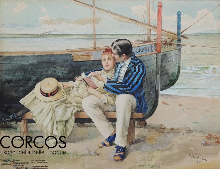 """Vittorio Corcos """"Lune de miel"""" (1885), acquerello su cartone, 345 x 455 mm. firmato e datato in basso a destra «V. Corcos 85» Collezione privata"""