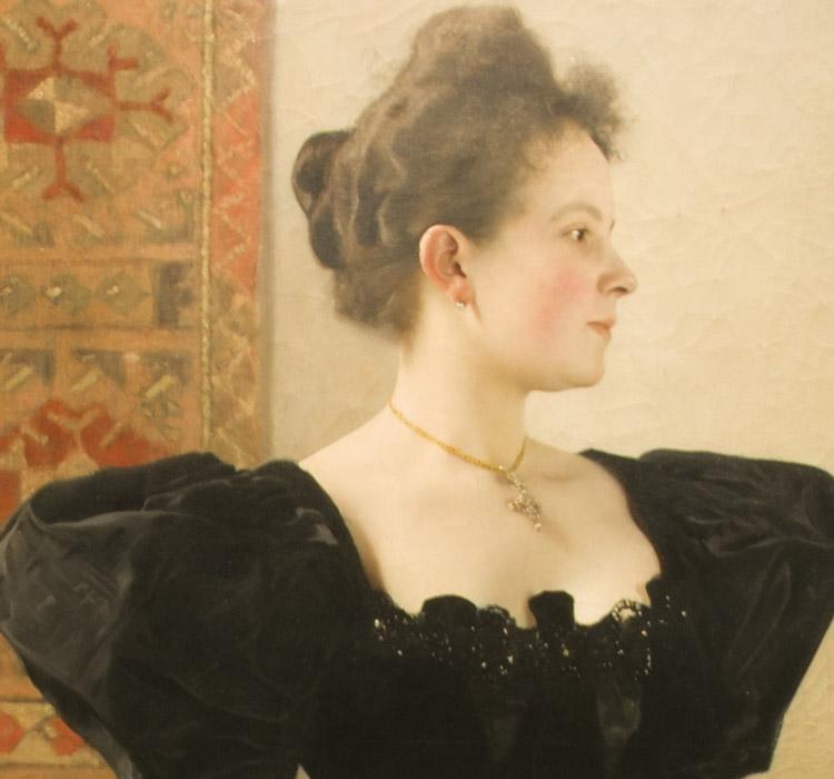Gustav Klimt, Ritratto Femminile, 1894 ca (dettaglio). Vienna, Belvedere