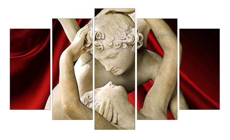 Composizione di 5 stampe su legno e carta Amore e psiche - 60x105 cm