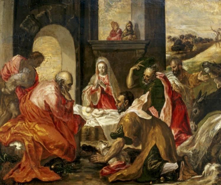 El Greco, Adorazione dei Pastori (1568-1569 ca), J.F. Willumsens Museum, Danimarca. Appartenente agli anni del soggiorno romano, per la pre- senza di suggestioni derivate dalla frequentazione del circolo artistico gravitante intorno alla figura del Cardinale Alessandro Farnese, si tratta di un capolavoro che fu recuperato e pub- blicato dal primo grande studioso del periodo italiano di El Greco, Jens Ferdinand Willumsen.