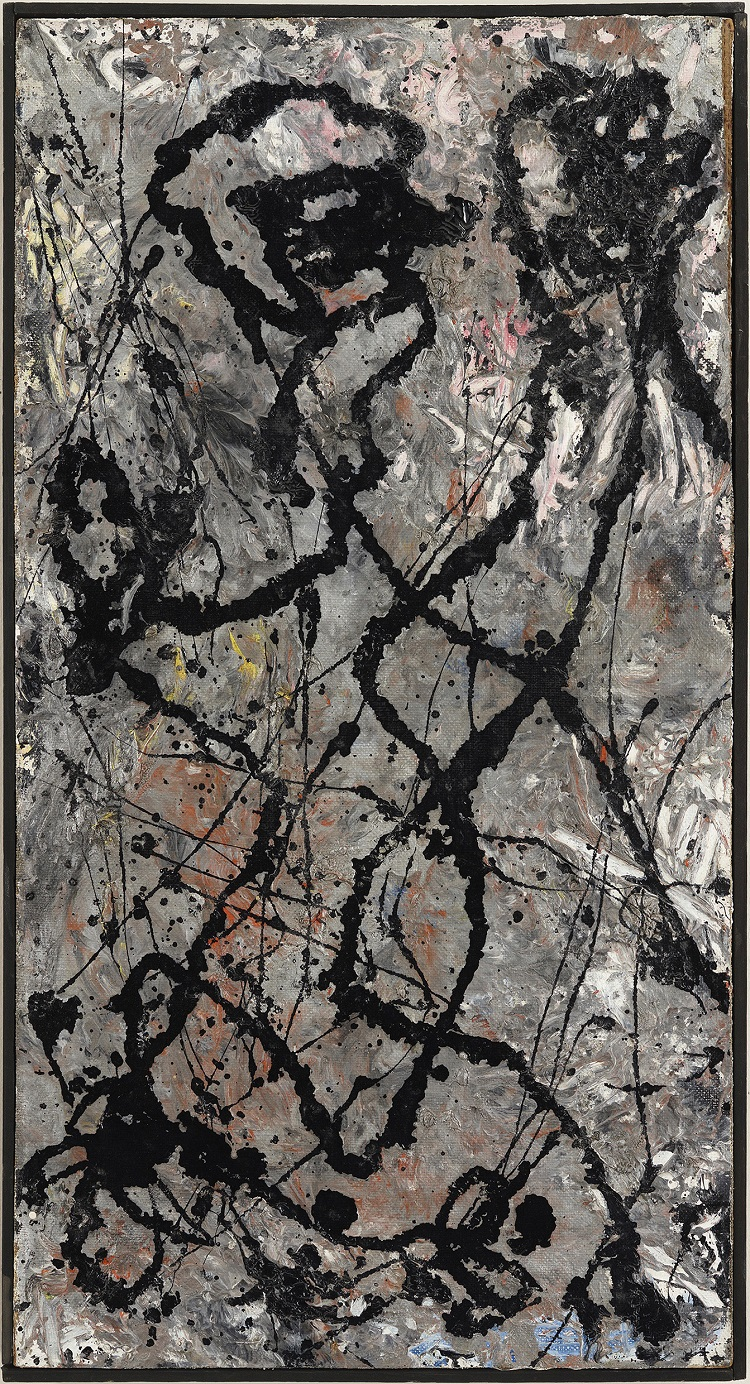 Jackson Pollock  Composition with Black Pouring, 1947  olio e smalto su tela, montata su masonite, The Olnick Spanu Collection
