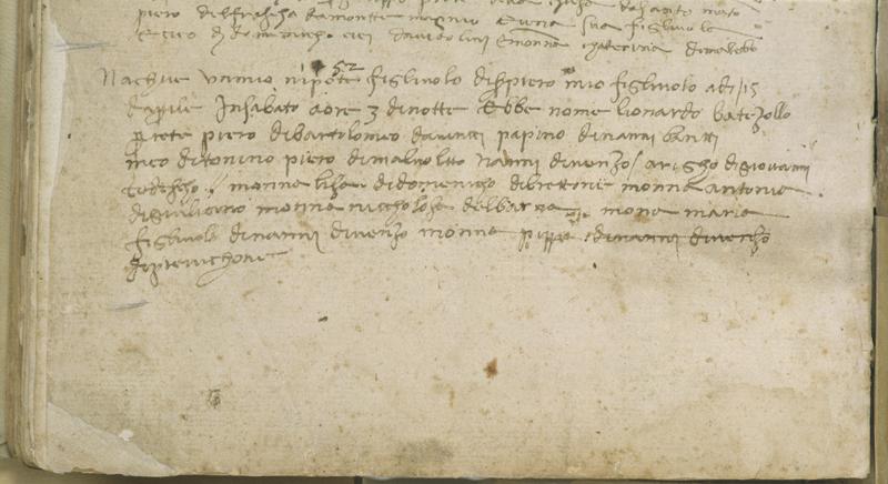 Atto di Nascita e di Battesimo di Leonardo da Vinci - 15 aprile 1452.