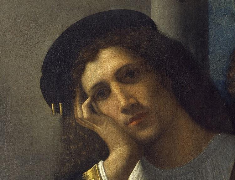 Giorgione, Doppio ritratto, 1502 circa olio su tela, cm 80 x 75 Roma, Museo Nazionale del Palazzo di Venezia (dettaglio)
