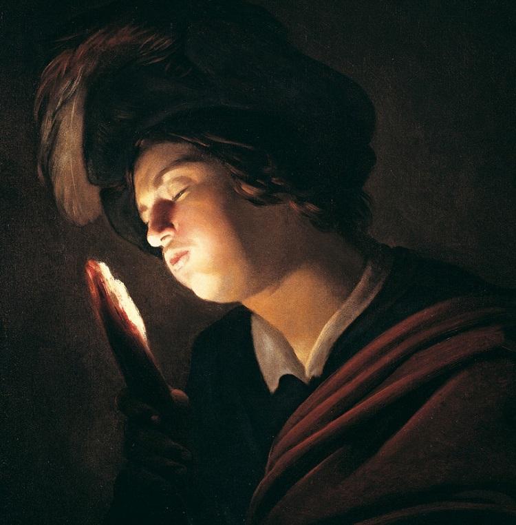 Gerrit van Honthorst - (Gherardo delle Notti) (Utrecht 1592 - 1656). Ragazzo che soffia su un tizzone. 1614 circa, Olio su tela - Roma, Galleria Fabio Massimo Megna
