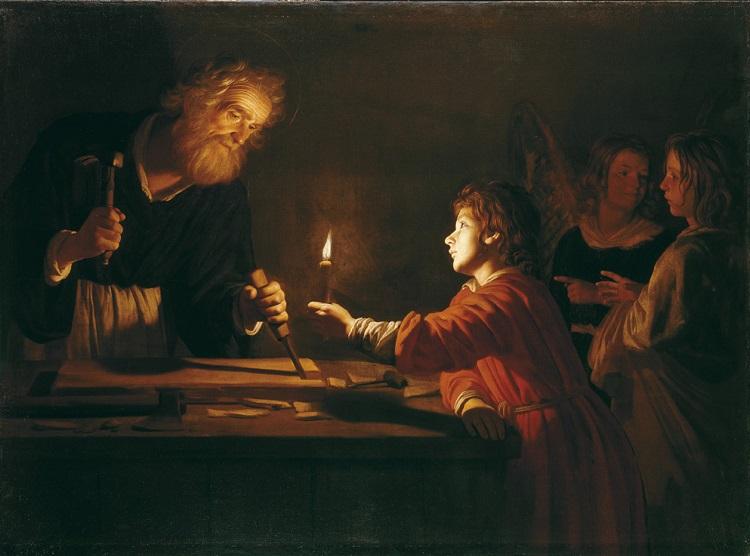 Gerrit van Honthorst - (Gherardo delle Notti) (Utrecht 1592 - 1656). Gesù nella bottega di san Giuseppe. 1617-1618, Olio su tela San Pietroburgo, Museo Statale Ermitage