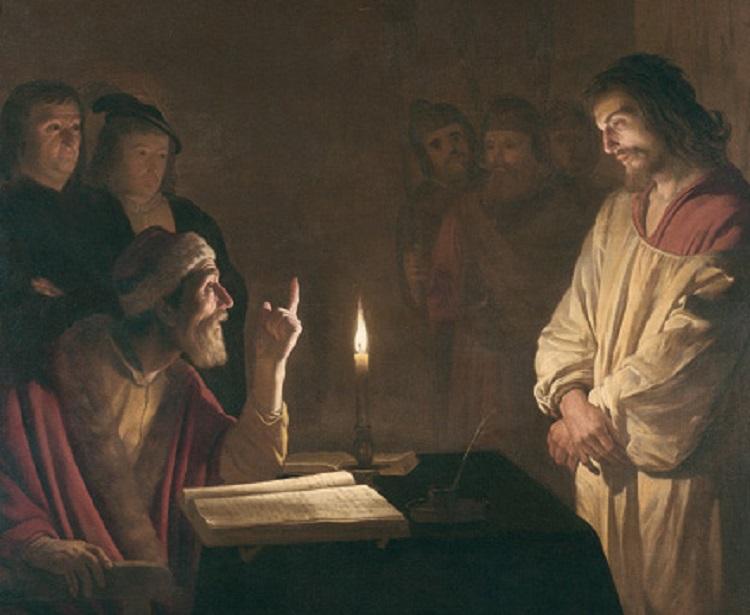Gerrit van Honthorst - (Gherardo delle Notti) (Utrecht 1592 - 1656). Cristo dinanzi a Caifa, 1615-1616. Olio su tela. Londra, The National Gallery