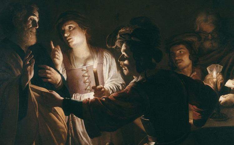 Gerrit van Honthorst - (Gherardo delle Notti) (Utrecht 1592 - 1656). Negazione di san Pietro. 1616-1617. Olio su tela, Rennes, Depot du Musée du Louvre au Musée des Beaux-Arts de Rennes
