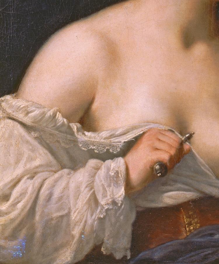 Guido Cagnacci, Lucrezia, 1650 circa. Olio su tela, cm 100,2x89, inv. 6590 (Pinacoteca Nazionale di Bologna)
