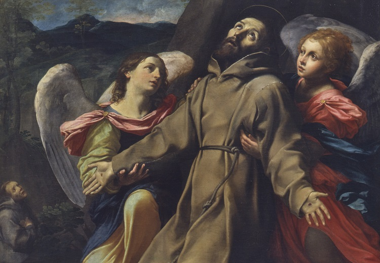 Giovan Francesco Gessi, San Francesco riceve le stimmate, 1620/25.  Olio su tela, cm 263x183, inv. 451 (Pinacoteca Nazionale di Bologna)